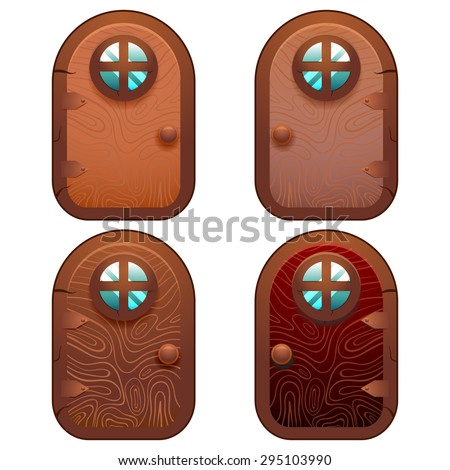 Collection of 4 cartoon wooden fairy door for Ui Game and app Vector illustration of a cartoon comic little wood door with rounded window for fantasy Ui game - stock vector