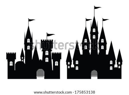 Collection of castle isolated on white, vector illustration - stock vector