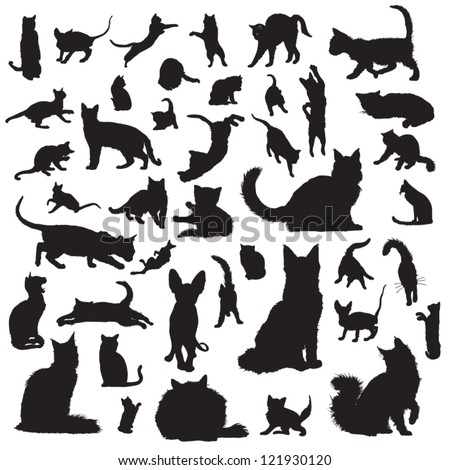 Collection of cat silhouettes - stock vector