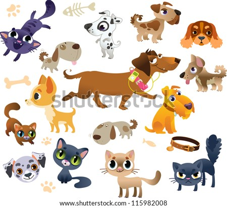 Collection of cats and dogs - stock vector