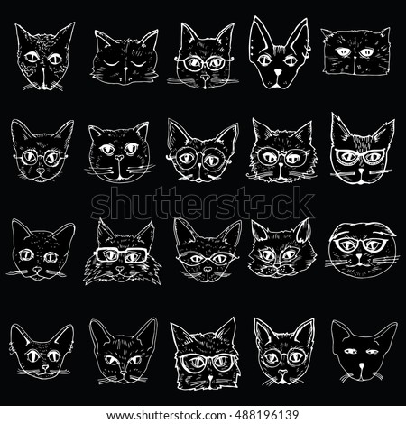 Collection of cats portraits of cats stylized cats head set line art