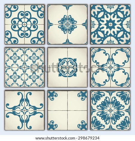 Collection of 9 ceramic tiles, retro blue style, part 3 - stock vector