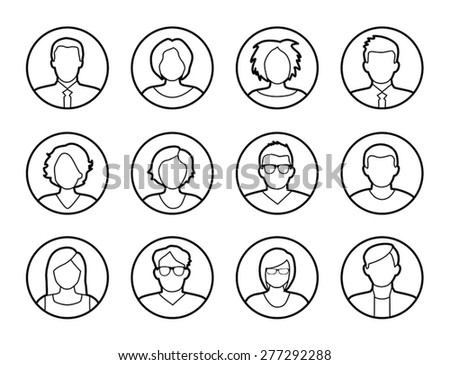Collection of characters - avatars. Can be used as profile pictures in online apps, games. Can also illustrate social networking. - stock vector