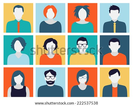 Collection of characters - avatars in flat design style. Can be used for social networking. - stock vector