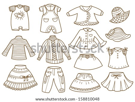 collection of children's clothing - stock vector