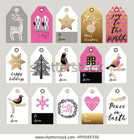 Collection of Christmas and New Year cute gift tags