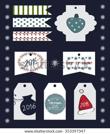 Collection of Christmas and New Year cute ready-to-use gift tags.Set of printable hand drawn holiday label. Vector seasonal badge design.Winter festive element set .Decorative festive ribbons,stickers