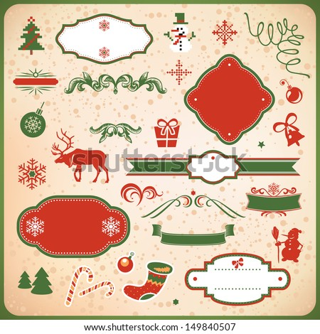 collection of christmas and new year decoration elements