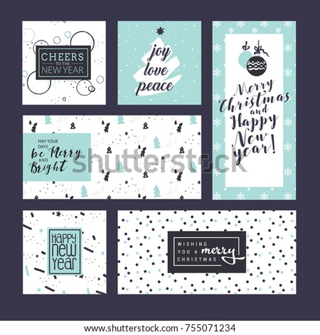 Flat design style christmas new year stock vector 755071417 collection of christmas and new year greeting cards and web banners flat design vector illustration m4hsunfo Image collections