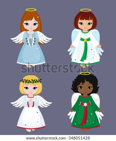 Collection of christmas angels. Vector illustration. - stock vector
