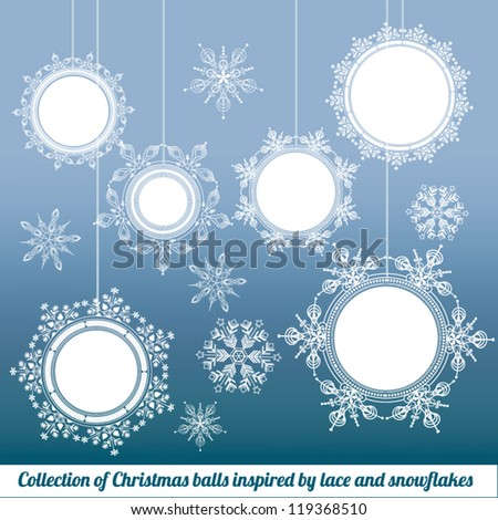 Collection of Christmas balls with border inspired by lace and snowflakes - stock vector