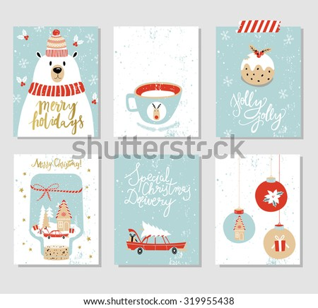 Collection of 6 Christmas card templates. Christmas Posters set. Vector illustration. Template for Greeting Scrapbooking, Congratulations, Invitations. - stock vector