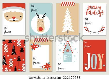 Collection of 8 Christmas card templates. Christmas Posters set. Vector illustration. Template for Greeting Scrapbooking, Congratulations, Invitations. - stock vector
