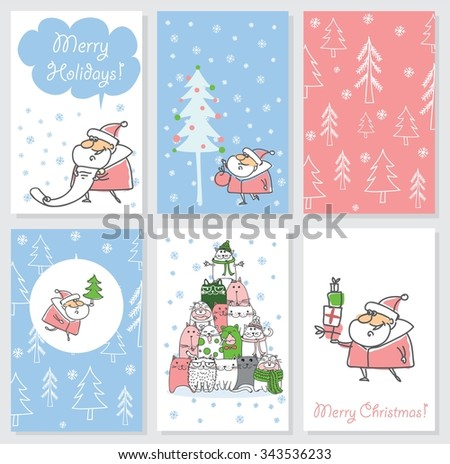 Collection of 6 Christmas card templates. Christmas Posters set. Vector illustration. Template for Greeting Scrapbooking, Congratulations, Invitations.
