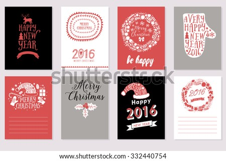 Collection of 8 Christmas cards. Merry Christmas, Happy New Year labels. Vector illustration template for greeting scrapbooking, congratulations, invitations. Design set for winter holidays  - stock vector