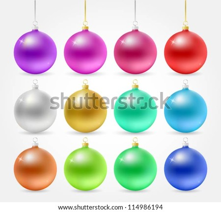 Collection of Christmas decoration balls - stock vector