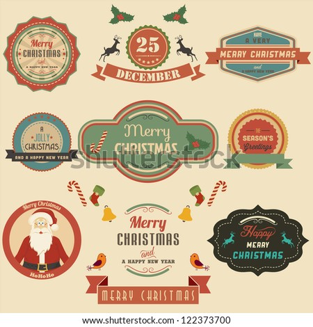 Collection of Christmas Design Elements.Vector - stock vector