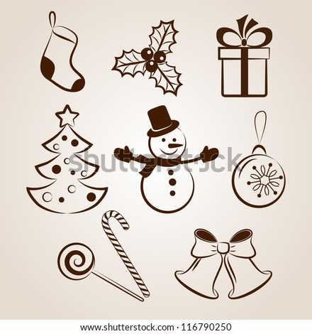 Collection of Christmas icons/objects - stock vector