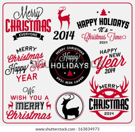 Collection of Christmas Labels and Badges in Vintage Style
