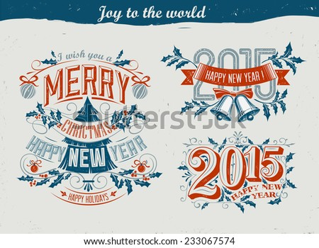 Collection of christmas ornaments and decorative elements - stock vector