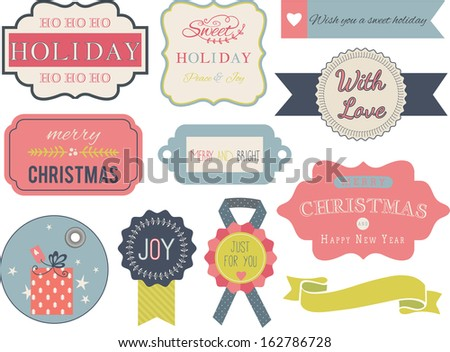 Collection of christmas ornaments and decorative elements, vintage frames, labels, tags, stickers and ribbons. - stock vector
