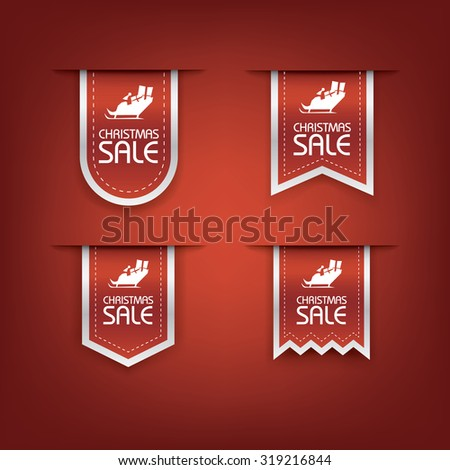 Collection of Christmas sale ribbon vector. Holiday discounts banners with santa on sleigh. 3d bookmarks elements. Eps10 vector illustration. - stock vector