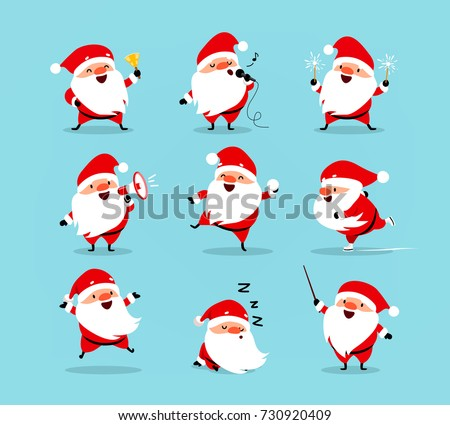 collection of christmas santa claus set of funny cartoon characters with different emotions and new - Christmas Santa Pictures