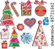 Collection of christmas stickers design elements isolated on White background. Vector illustration. - stock vector