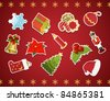Collection of christmas stickers. Vector illustration. - stock vector