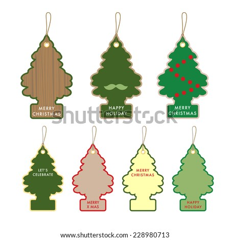 Collection Of Christmas Tree Gift Card Name Tag On Paper With Text Design Template