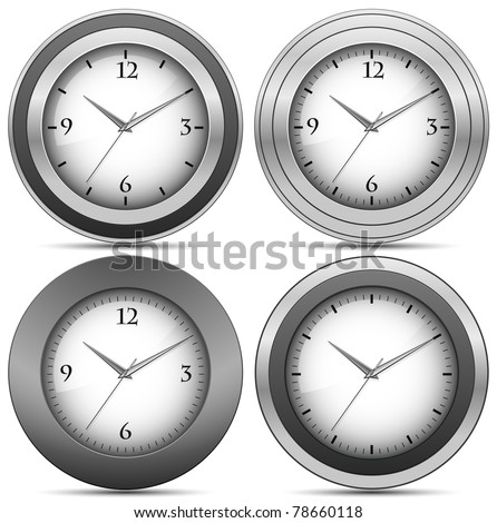 Collection of chrome office clocks. Vector illustration - stock vector