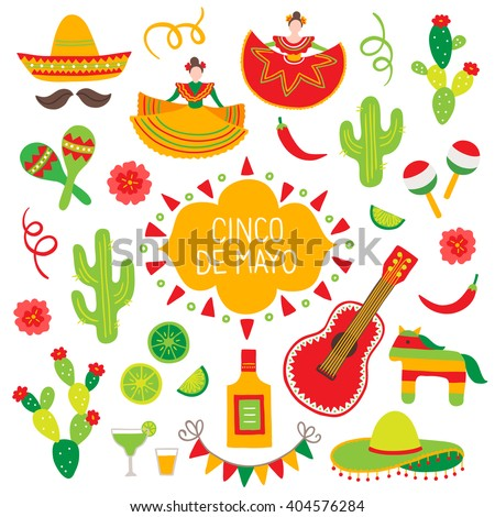 Collection of Cinco de Mayo design elements - stock vector