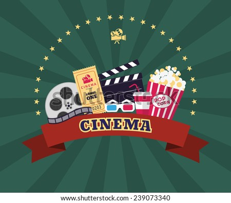 Collection of cinema industry symbols. Pop corn and snack, 3d glasses, paper ticket, film production and clapboard with red ribbon and movie sign - stock vector