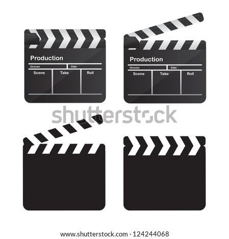 collection of clappers over white background vector illustration - stock vector