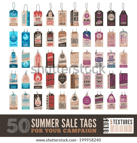 Collection of 50 Clean Summer Sales Related Hang Tags + 5 Bonus Vintage Textures  Included Separately - stock vector