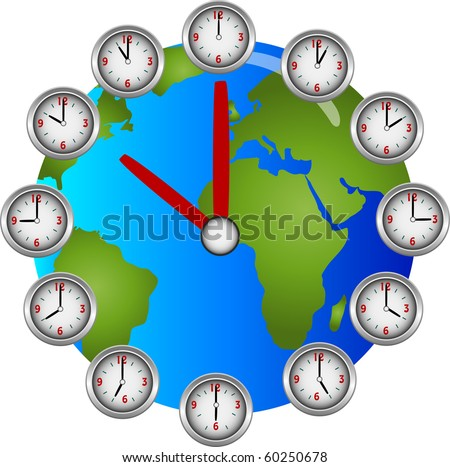 Collection of clocks showing each hour of the day circling a globe clock illustration vector - stock vector