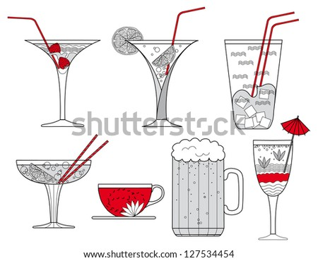 Collection of Cocktail Glasses, Cup of Coffee and Glass of Beer - vector illustration - stock vector