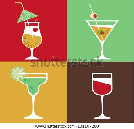 Collection of cocktails - stock vector