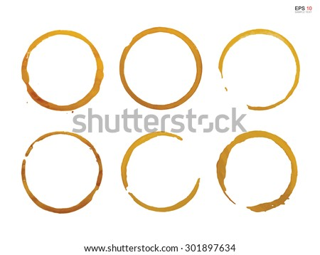 Collection of coffee cup stain rings on white background. Vector illustration.