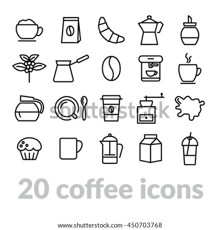 collection of coffee line icons - stock vector