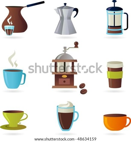 Collection of coffee related icons - stock vector