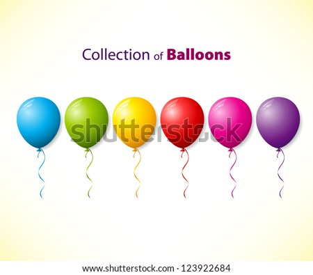 Collection of color balloons - stock vector