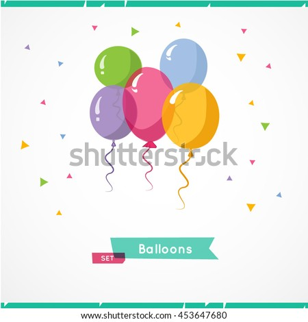 Collection of color balloons. Background with multicolored balloons. Vector 10 EPS. - stock vector