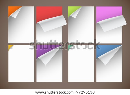 Collection of color blank paper sheets with bending corners - stock vector