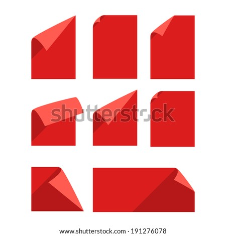 Collection of color blank paper sheets with bending corners isolated on white - stock vector