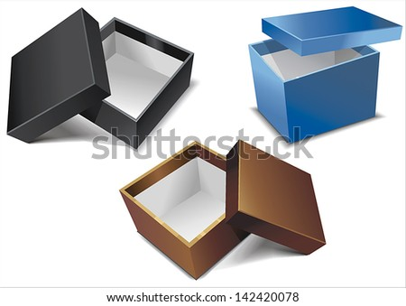 Collection of color boxes isolated on white background - stock vector