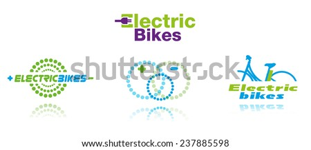 Collection of color electric bikes icons, isolated, vector illustration - stock vector