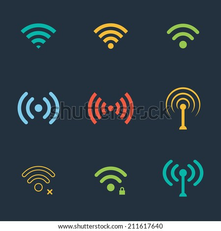 collection of color flat wifi icons. vector - stock vector