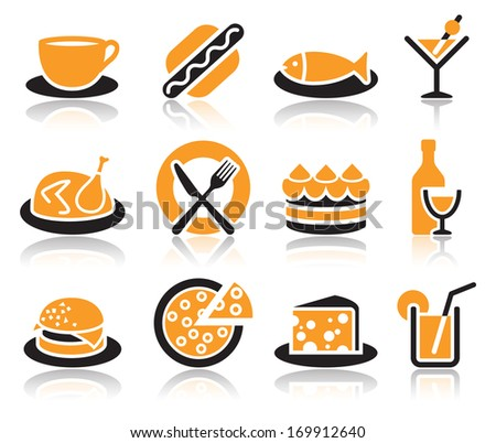 Collection of color food icons over white background