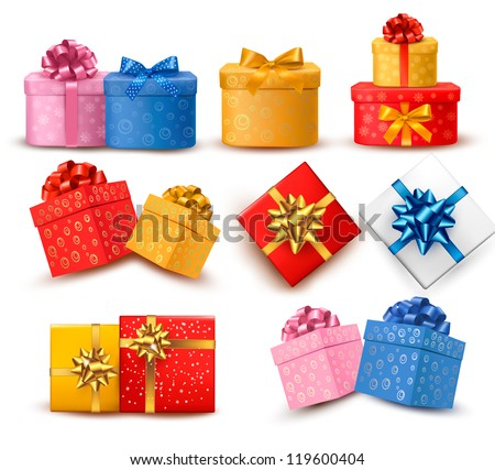 Collection of color gift boxes with bows and ribbons. Vector illustration. - stock vector